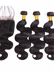 Недорогие -4 Связки Бразильские волосы Волнистый Натуральные волосы Необработанные натуральные волосы Волосы Уток с закрытием Нейтральный Черный Ткет человеческих волос Расширения человеческих волос Жен.