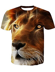abordables -Tee-shirt Homme, Animal Imprimé Actif Col Arrondi Lion / Manches Courtes