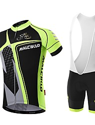 cheap -Malciklo Men's Cycling Jersey with Bib Shorts - White / Black Bike Bib Shorts / Jersey, Quick Dry, Anatomic Design, Reflective Strips / YKK Zipper