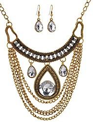 baratos -Mulheres Gema Conjunto de jóias 1 Colar Brincos - Vintage Importante Caído Conjunto de Jóias Brincos Compridos Colares com Pendentes Para