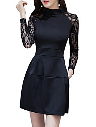 cheap -Women's Going out Street chic Slim Sheath Dress - Solid Colored Lace Mini Crew Neck