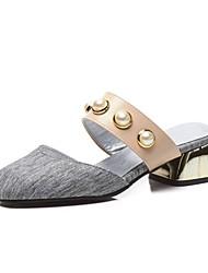 preiswerte -Damen Schuhe Leinen Frühling / Sommer Komfort Cloggs & Pantoletten Golf Shoes Blockabsatz Quadratischer Zeh Imitationsperle Grau / Rosa