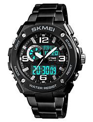 Недорогие -SKMEI Муж. Спортивные часы электронные часы Японский Цифровой Нержавеющая сталь Черный 50 m Защита от влаги Будильник Секундомер Аналого-цифровые На каждый день Мода - Черный Красный Синий / Один год