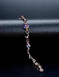 abordables -Femme Cristal Zircon Chaînes & Bracelets - Fleur Classique, Rétro, Elégant Bracelet Arc-en-ciel Pour Mariage Soirée