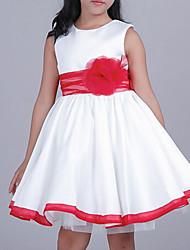 abordables -Vestido Chica de Diario Un Color Algodón Rayón Sin Mangas Todas las Temporadas Blanco
