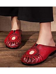 povoljno -Žene Cipele Koža Proljeće Ljeto Udobne cipele Klompe i natikače Niska potpetica za Kauzalni Crn Sive boje Crvena