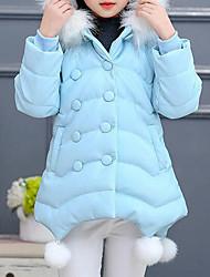 cheap -Girls' Patchwork Down & Cotton Padded, PU Winter Fall Long Sleeves Cartoon Black Blushing Pink Light Blue