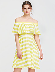 cheap -Women's Beach Going out Holiday Cute A Line Dress - Striped Ruffle High Rise Boat Neck