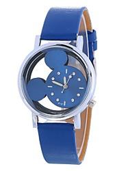 baratos -Mulheres Relógio de Moda Chinês Mostrador Grande PU Banda Desenho / Minimalista Preta / Branco / Azul / Um ano