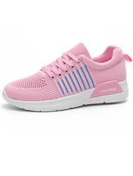 abordables -Femme Chaussures Tulle Automne Confort Basket Talon Plat Bout rond pour De plein air Noir / Gris / Rose