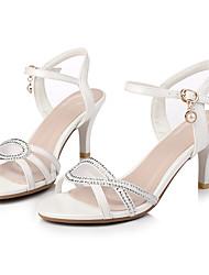 abordables -Femme Chaussures Similicuir Eté Confort Sandales Talon Aiguille Bout ouvert Boucle Blanc / Rose / Soirée & Evénement