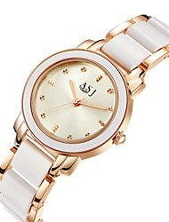 cheap -ASJ Women's Wrist Watch Quartz 30 m Water Resistant / Water Proof Imitation Diamond Alloy Ceramic Band Analog Luxury Casual Silver / Rose Gold - Silver Rose Gold Two Years Battery Life / SSUO 377