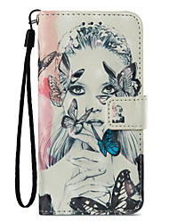 cheap -Case For Apple iPhone X iPhone 8 Plus Card Holder Wallet with Stand Flip Pattern Full Body Cases Butterfly Sexy Lady Hard PU Leather for