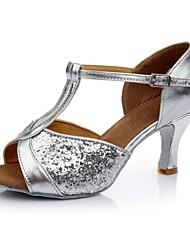 preiswerte -Damen Schuhe für den lateinamerikanischen Tanz Satin / Kunstleder Sandalen / Absätze Farbaufsatz Maßgefertigter Absatz Maßfertigung
