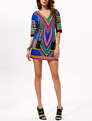 cheap -Women's Holiday Cotton Loose Tunic Dress - Geometric Color Block Print High Waist V Neck