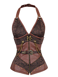 cheap -Steampunk Costume Women's Corset Brown Vintage Cosplay Polyster Sleeveless