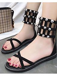 cheap -Women's Shoes PU Summer Gladiator Sandals Flat Heel Black / Khaki
