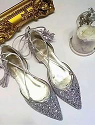 economico -Per donna Scarpe Pelle nubuck Primavera / Estate Comoda Sandali Piatto Appuntite Lustrini Argento