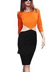 abordables -Femme Grandes Tailles Coton Mince Moulante / Gaine Robe Couleur Pleine Mi-long / Au dessus du genou