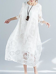 cheap -Women's Beach Loose Swing Dress - Solid Colored Lace / Summer