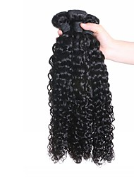 cheap -Indian Hair Curly Weave 3 Bundles 24 inch Human Hair Weaves Machine Made Normal / Life / Soft Natural Black Human Hair Extensions Women's