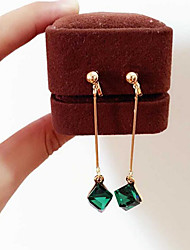 cheap -Women's Long Drop Earrings - Gemstone, Gold Plated Vintage, Korean, Fashion Dark Green For Gift / Daily