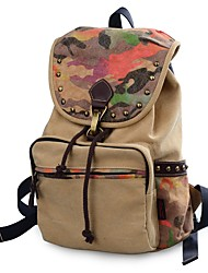 cheap -Unisex Bags Canvas Backpack Beading Rivet Pattern / Print for Casual Outdoor All Seasons Brown