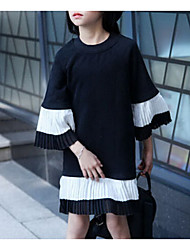abordables -Robe Fille de Plage Couleur Pleine Coton Rayonne Printemps Eté Manches longues Noir Rose Claire