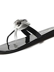 cheap -Women's Shoes PU Summer Comfort Slippers & Flip-Flops Flat Heel Round Toe Bowknot for White Black