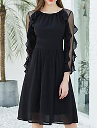 abordables -Femme Sophistiqué Noir Mousseline de Soie Robe - A Volants, Couleur Pleine Au dessus du genou