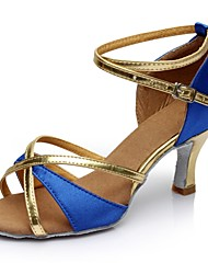 cheap -Women's Latin Shoes Satin / Leatherette Sandal / Heel Splicing Customized Heel Customizable Dance Shoes Blue / Indoor