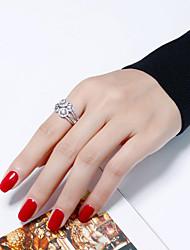 abordables -Femme Zircon Plaqué argent / Plaqué or Anneau de déclaration - Forme de Cercle Mode / Européen Or / Argent Bague Pour Soirée / Cadeau