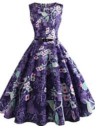economico -Per donna Vintage Fodero Vestito Fantasia floreale Al ginocchio