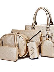 cheap -Women's Bags PU Bag Set 6 Pieces Purse Set Embossed Gold / White / Black