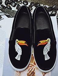 baratos -Mulheres Sapatos Pele Nobuck Primavera Outono Conforto Mocassins e Slip-Ons Salto Baixo para Casual Preto