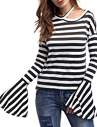 cheap -Women's Holiday Street chic Cotton Loose T-shirt - Striped Patchwork Halter Neck / Spring / Summer