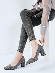 preiswerte -Damen Schuhe PU Winter Pumps / Komfort Stiefel Spitze Zehe Booties / Stiefeletten für Büro & Karriere Schwarz / Grau / Dunkelrot