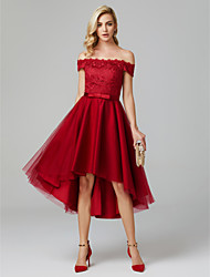 cheap -A-Line Off Shoulder Asymmetrical Lace Over Tulle High Low Cocktail Party Dress with Bow(s) by TS Couture®