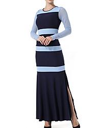 preiswerte -Damen Fledermaus Ärmel Schlank Bodycon Kleid - Patchwork, Einfarbig Maxi