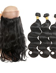 cheap -Brazilian Hair Body Wave Wavy Human Hair Weaves Four-piece Suit New Arrival Best Quality Hair Weft with Closure Women's Party Birthday