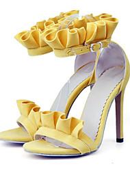 Недорогие -Жен. Обувь Нубук Весна / Лето Удобная обувь / Оригинальная обувь Сандалии На шпильке Открытый мыс Пряжки Оранжевый / Желтый / Розовый