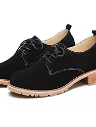 cheap -Women's Shoes Nubuck leather / Suede Spring / Fall Comfort Oxfords Chunky Heel Round Toe Black / Brown