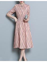 Недорогие -Жен. Праздники Тонкие А-силуэт Платье - Контрастных цветов Вырез под горло Выше колена