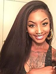 abordables -Cabello Virgen Encaje Frontal Peluca Cabello Peruano Recto Peluca Corte a capas 130% Con Baby Hair / Peluca afroamericana / Para mujeres de color Negro Mujer Corta / Larga / Longitud Media Pelucas de