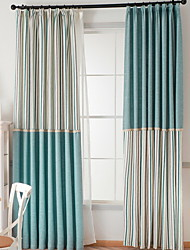 cheap -Curtains Drapes Living Room Color Block / Stripe / Contemporary Cotton / Polyester Embroidery