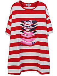 cheap -Women's Loose Tunic Dress - Striped Low Waist