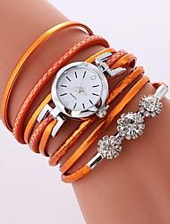 baratos -Mulheres Quartzo Bracele Relógio Chinês imitação de diamante Relógio Casual PU Banda Casual Boêmio Preta Branco Azul Laranja Rosa Rose
