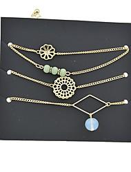 abordables -Femme Empiler Chaînes & Bracelets - Cuir, Tourmaline d'imitation Fleur Rétro, Basique Bracelet Or Pour Rendez-vous / Plein Air