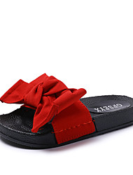 cheap -Women's Shoes PU Winter Fall Light Soles Slippers & Flip-Flops Open Toe Feather Bowknot for Casual Black Red Green Pink