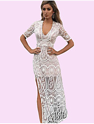 Недорогие -Жен. На выход Уличный стиль Тонкие Облегающий силуэт Платье - Однотонный Завышенная Глубокий V-образный вырез Средней длины